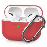AirPods Pro Silicone Case w/Carabiner Clip - Red