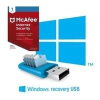 BID Recovery USB Stick for Windows 10 Laptops or Desktops including 1 year subscription of McAfee Internet Security