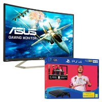 "ASUS VA326HR 32"" Full HD 144Hz Curved Monitor with Sony PS4 500GB FIFA 20 + 2 x DualShock Controller Bundle"