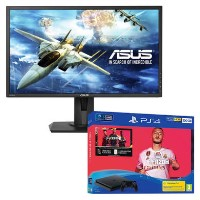 "Asus VG245H 24"" Full HD 1ms FreeSync Gaming Monitor with Sony PS4 500GB FIFA 20 DualShock Controller Bundle"