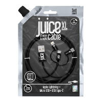 Juice 2M 3 in 1 Cable - Mico-Usb Type-C and Lightning - Black